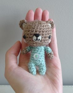 Pattern: Baby P.J. Teddy. All About Ami has some awesome amigurumi patterns and she shares them freely. Thanks, Ami!