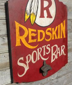 Redskin BAR  Sign original hand by ZekesAntiqueSigns on Etsy, $75.00