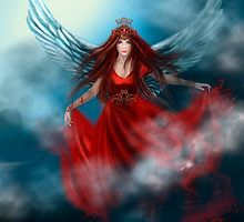 Woman queen with wings in red dress by Alena Lazareva