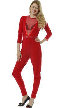 Red belted V mesh insert jumpsuit £5