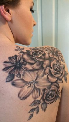 First tattoo - FeedPuzzle Tattoos, flower tattoos, lily tattoo rose tattoo daisy tattoo shoulder blade Lily Flower Tattoos, Flower Tattoo Designs, Rose Tattoos, Body Art Tattoos, Tattoo Flowers, Bouquet Tattoo, Flower Tattoo Back, Daisies Tattoo, Lily Tattoo Design