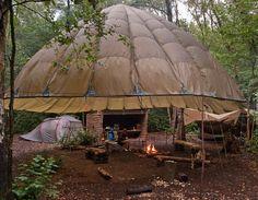 Love the parachute idea inside of a barn!