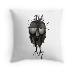 'Funny Sleepy Owl' Throw Pillow by StrangeStore Owl Pillows, Throw Pillows, Love Drawings, Online Gifts, Owls, Moose Art, Vibrant, Ink, Funny