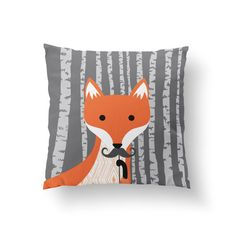 Fox Pillow Woodland Nursery Animal Pillow Woodland by PaperRamma