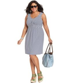 Style Plus Size Dress, Sleeveless Striped A-Line