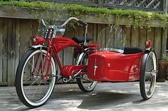 Vintage bike with side car. Wow!