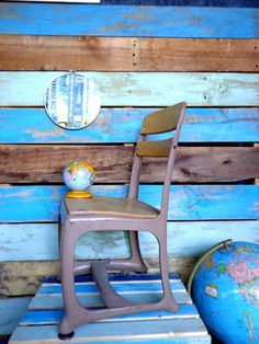 Reserved For Colleen Sale Vintage School House Metal And Wood Child's Desk Chair…