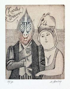 Adolf Born Poslední Darwinův portrét lept / etching, x 14 cm Book Illustration, Illustrations, Galerie D'art, Theatre Costumes, Charles Darwin, Typography Prints, Animation Film, Printmaking, Modern Art