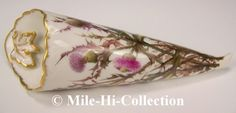 Limoges France Hand Painted Thistles Wall Pocket Vase Signed Becker