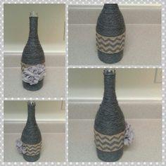 Yarn wrapped wine bottle