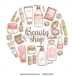 Glamorous hand drawn card template with make up objects â?? shampoo, cream, lipstick, mascara nail-polish, perfume, lotion, eyeshadow. Doodle cosmetics background for beauty shop.