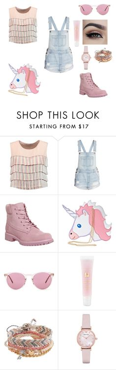 """""""super cute and girly outfit"""" by lost-a-j ❤ liked on Polyvore featuring Alexis, Timberland, Nila Anthony, Oliver Peoples, Lancôme, Aéropostale and Emporio Armani"""