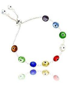 pulseira ajustavel de olho grego coloridos transparentes prata 925
