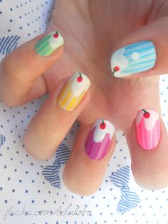14 Awesome Cupcake Nail Art Designs for Girls - 101 NailDesign Funky Nails, Love Nails, How To Do Nails, Pretty Nails, Cupcake Nail Art, Do It Yourself Nails, Ice Cream Nails, Manicure Y Pedicure, Cute Nail Art