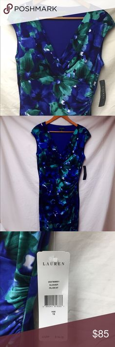 """Ralph Lauren Dress Beautiful sapphire blue and green floral dress. I'm 5'8"""", this hits me right in the middle of the knee. Lovely dress, never worn. Ralph Lauren Dresses Midi"""