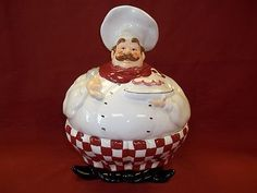 Fat Chef Cookie Jar & Bon Appetit Chef 4-Piece Canister Set from Through the Country Door ...