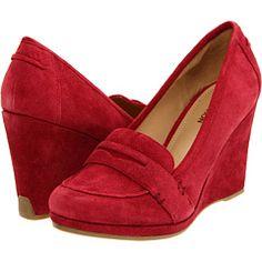 red loafer wedges.
