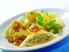 Swabian Maultaschen - these are delectable dumplings, similar to very large ravioli, filled with spiced meat, spinach, and herbs