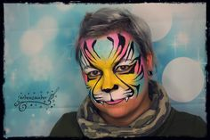Colourful tiger inspired by Olga Murasev Airbrush, Body Art, Carnival, Inspired, Face, Color, Inspiration, Kids Makeup, Bodypainting