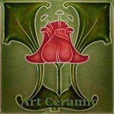 Amazon.com: Art Nouveau Ceramic Tile 6 Inches Reproducction #0030: Kitchen & Dining
