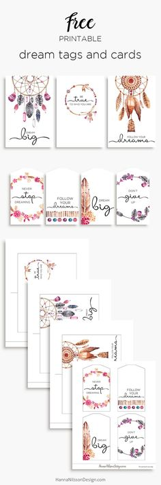 Free Printable Dreamcatcher Tags and Cards from Hanna Nilsson Design {subscription required}