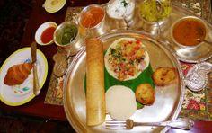Huge South Indian breakfast platter in Rajput Room, Taj Rambagh Palace Hotel, Jaipur, Rajasthan, India