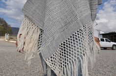Grey Handwoven Wool Shawl made by Arthur and Martha - a married artisan couple who live in Mitla, Oaxaca, Mexico.   #handmade