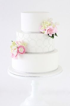 3 Tier Cake with Circle Pattern and Sugar Flowers