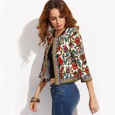 Popular Folk Embroidery Bohemian Multicolor Embroidery Jacket - Buy Women's Bohemian Style Multicolor Embroidery Outerwear Winter Jacket With Long Sleeve by PesciModa. Shop womens casual jackets, womens winter coats on sale, womens fashion jackets Outfit Essentials, Coats For Women, Jackets For Women, Clothes For Women, Fall Jackets, Short Jackets, Casual Jackets, Mode Costume, Diy Vetement
