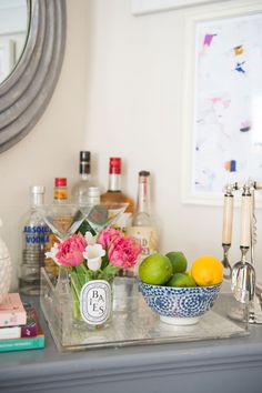 Bar cart styling with lucite tray.