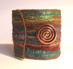 Cuff in Rich Tones with Vintage button | Flickr - Photo Sharing!