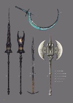 Weapons of Dark Souls 3 Dark Souls 3, Anime Weapons, Fantasy Weapons, Sword Design, Futuristic Art, Arm Armor, Weapon Concept Art, Soul Art, High Fantasy