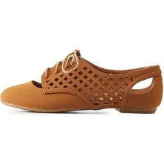 Charlotte Russe Chestnut Bamboo Laser-Cut Latticed Cut-Out Oxfords by... (48 BAM) ❤ liked on Polyvore featuring shoes, oxfords, chestnut, cut out oxfords, charlotte russe, wingtip oxfords, wingtip brogues and cutout oxfords