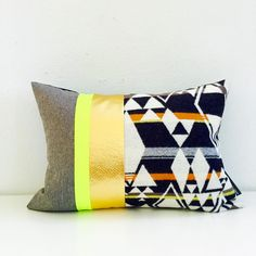 Triangle➕Tribal Motif in Black, White Orange, Beige Wool Paired in a Color Block Design If Grey, Neon➕Metallic Gold