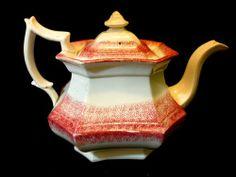 RARE ANTIQUE 1830'S SPATTERWARE TEAPOT Red Spongeware Old ... | 3 TEA ...
