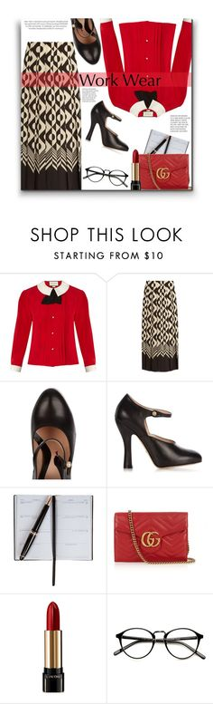 """""""It's Pretty Standard"""" by sherieme ❤ liked on Polyvore featuring Gucci, Smythson, Lancôme, WorkWear, redlipstick, REDLIP and polyvorecontest"""