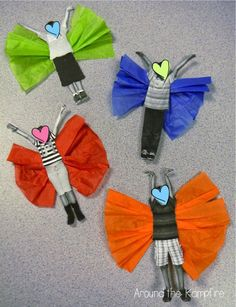 Butterfly kids! We added these to our butterfly life cycle writing for our spring open house.