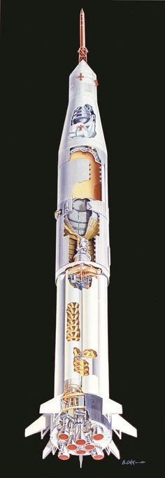 This undated cutaway drawing illustrates the Saturn IB launch vehicle with its two booster stages, the S-IB and S-IVB