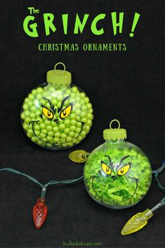 Two DIY Grinch Christmas Ornaments An Easy Tutorial is part of Christmas crafts Ornaments - Remind friends and family of the true meaning of Christmas with these two adorable DIY Grinch Christmas ornaments! Learn to make them with my easy tutorial! Grinch Christmas Decorations, Grinch Ornaments, Grinch Christmas Party, Noel Christmas, Christmas Crafts For Kids, Diy Christmas Ornaments, Homemade Christmas, Christmas Projects, Grinch Party