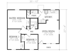 Ranch Style House Plan - 3 Beds 1 Baths 921 Sq/Ft Plan #1-129 Floor Plan - Main Floor Plan - Houseplans.com