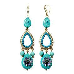 ZOË + SYD Turquoise & Crystal Teardrop Chandelier Earrings - jcpenney