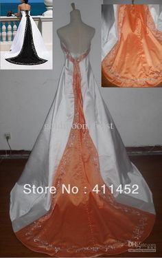 Wholesale Wedding Dresses - Buy Plus Size White And Orange Strapless Satin with Silver Embroidery And Beads Bride of Wedding Dresses, $150.94 | DHgate