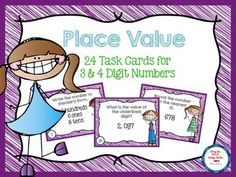 {{FREEBIE}}  Place Value Task Cards for 3 & 4 Digit Numbers. Grade Levels: 2nd, 3rd, 4th, Homeschool