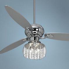 "fans with crystal light kits | 60"" Spyder Chrome Ceiling Fan with Chrome Crystal Light Kit - #R2180 ..."