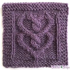 Two of Hearts is pattern in the 2018 Harmony Blanket Knit Along. Just in time for Valentine's Day, twisting cables form a pair of intertwined hearts. The pattern includes both written and charted versions of the instructions. Knitted Heart Pattern, Knitted Washcloth Patterns, Knitted Washcloths, Knit Dishcloth, Knitted Afghans, Knitted Blankets, Knitting Squares, Cable Knitting Patterns, Knitting Stiches