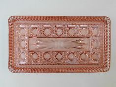Pink depression glass tray