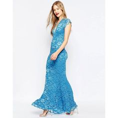 Honor Gold Fishtail Lace Maxi Dress (£67) ❤ liked on Polyvore featuring dresses, blue, plunge-neck dresses, lace maxi dress, tall maxi dresses, blue maxi dress and plunging neckline dress