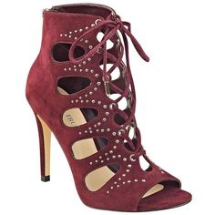 Ivanka Trump Dazy Embellished Suede Lace-Up Booties (€44) ❤ liked on Polyvore featuring shoes, boots, ankle booties, heels, burgundy, heeled booties, heeled boots, suede heel boots, burgundy suede booties and suede boots