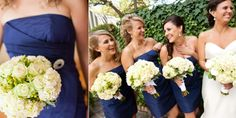 bridesmaids in cobalt blue - St Helena Winery Wedding