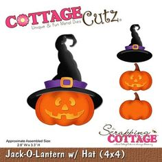 Cottage Cutz-Die-Jack O Lantern with Hat      Item Number: COT-4x4-408  Your Price: $19.95